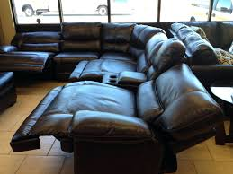 Sectional Recliner Sofa With Cup Holders Leather Sectional Recliner Sa Sa Black Leather Reclining Sofa With