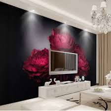 romantic red roses tv background wall 3d wallpaper for room