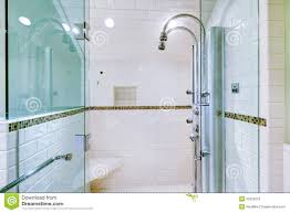 white large luxury bathroom walk in shower stock photo image