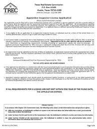 application for apprentice inspector license trec