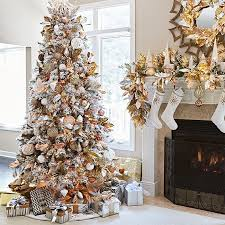artificial flocked tree with metallic copper silver gold and