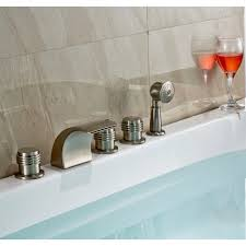 monora brushed nickel waterfall tub faucet three handles monora brushed nickel waterfall tub faucet three handles with