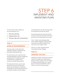 lessons learnt report template step 6 implement and maintain plan a transportation guide for page 122
