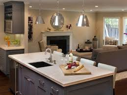 modern kitchen island with sink textured light grey apron front