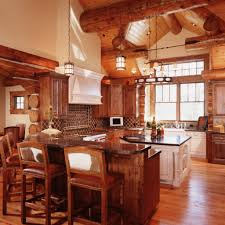 wood countertops log cabin kitchen cabinets lighting flooring sink