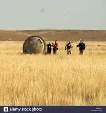 the soyuz tma 08m spacecraft after landing with expedition 36 crew