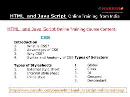 online html class online html and java script in india by experts nareshit