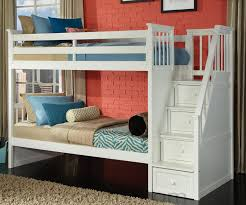 Wooden Bunk Bed With Stairs School House 7090 White Staircase Bunk Bed Bed Frames Ne