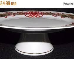 Red Cake Plate Pedestal Sadek Cake Plate Etsy