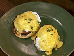 eggs benedict with apple sausage and mustard hollandaise recipe