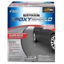 rust oleum epoxyshield 120 oz dark gray gloss one car garage