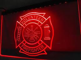 firefighter volunteer fire dept led sign vintagily firefighter volunteer fire dept