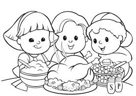 coloring pages kids thanksgiving meal thanksgiving