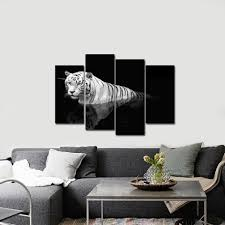 Home Decor Supplier Wieco Art 4 Pcs Tiger On Black Animals Canvas Prints Modern Canvas