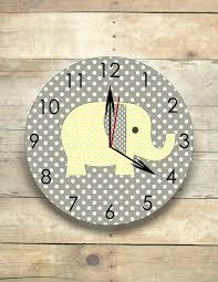 Gray Elephant Nursery Decor by Elephant Nursery Elephant Clock Gray And Yellow Safari Clock