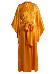 robe de chambre en satin carine gilson robe de chambre en satin soie à dentelle femme orange