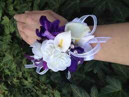 purple corsage purple and white real touch silk wrist corsage for weddings or