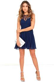 jolly song navy blue lace skater dress generous