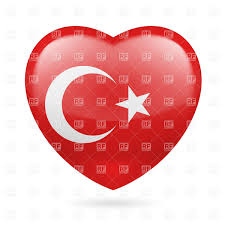 heart with turkish flag colors i love turkey vector clipart image