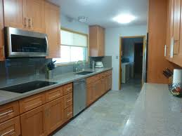 beech wood kitchen cabinets natural beechwood shaker galley sink wall after craftsman