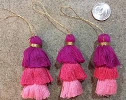Antiqued Pink And Fuschia Beaded Fuschia Tassel Etsy