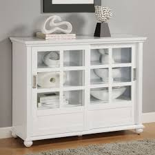furniture short white book cabinet with sliding glass door