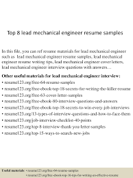 Sample Resumes For Mechanical Engineer Best Solutions Of Lead Mechanical Engineer Sample Resume For