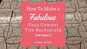 diy faux cement tile backsplash with diy stamps hometalk