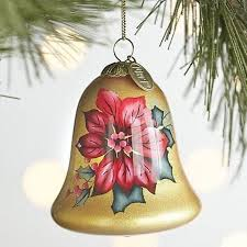 best pier 1 imports painted blown glass poinsettia bell