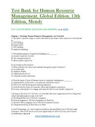 test bank for human resource management 13th edition mondy