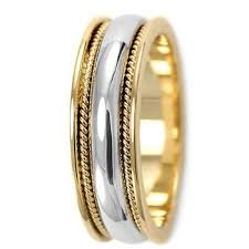 handmade wedding rings shiny handmade wedding band comfort fit 18k two tone gold