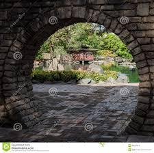 Japanese Garden Walls by Japanese Garden Through Moon Gate Stock Images Image 36237874