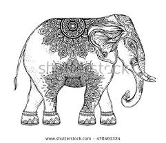 indian beautiful elephant zentangle ornament asian stock vector