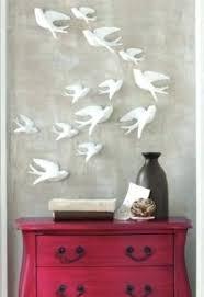 wooden bird wall decor three dimensional white bird flying