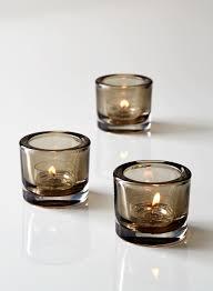 glass tea light holders smoke thick glass tea light holder set of 3