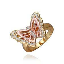 free shipping yellow gold flying made pretty butterfly design cheap