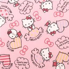 light pink kitty sweet heart bow oxford fabric kitty