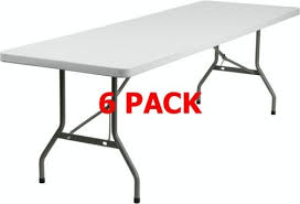 6 plastic folding table 6 pack 30 w x 96 l commercial quality plastic folding table