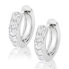 small diamond hoop earrings gold small diamond hoop earrings huggies 1 2ct