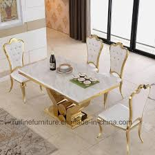 china modern dining room furniture stainless steel gold marble