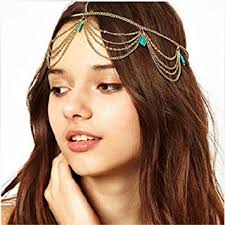chain headband chineon women girl boho bohemian green