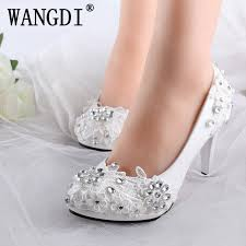 wedding shoes comfortable plus size 34 40 fashion lace wedding shoes white for women