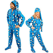 penguin footed pajamas with drop seat and cap pajama city