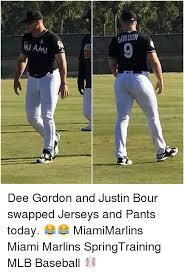 Dee Gordon Meme - miami gordon dee gordon and justin bour swapped jerseys and pants