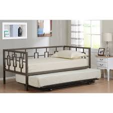 twin size brown metal day bed frame with black pop up high riser