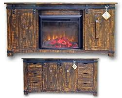 Tv Stand Fireplace Heater by Rustic Rough Cut Medium Wax Barn Door Tv Stand Fireplace Heater