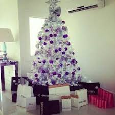 white christmas tree with purple ornaments christmas galore