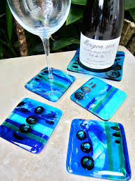 Unique Coasters House Warming Gifts Fused Glass Coasters Stoppers Platters