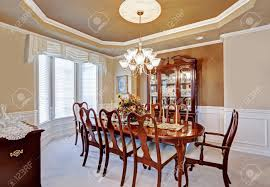 beautiful dining room interior in luxury house wooden dining