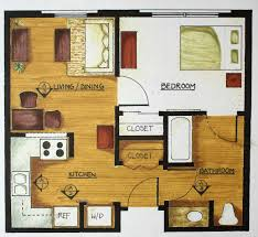simple floor plan for in law has 2 closets